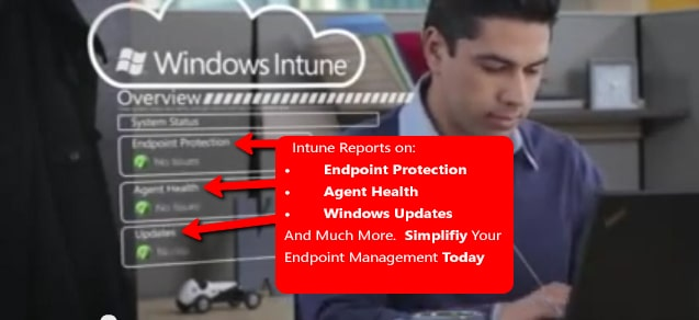 Cloud Technology Professional checking the Windows Intune portal for security threats, updates and overall system health.