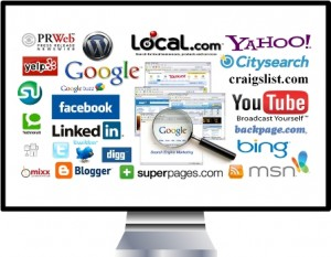 computer screen with online directory and social media sites